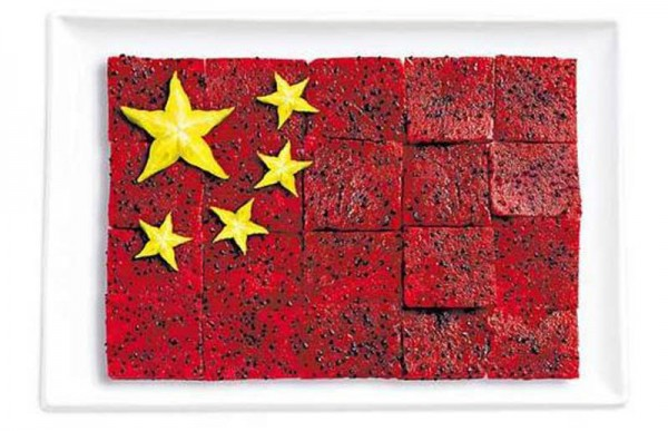 Xina feta de Pittaya i fruita estavellada.